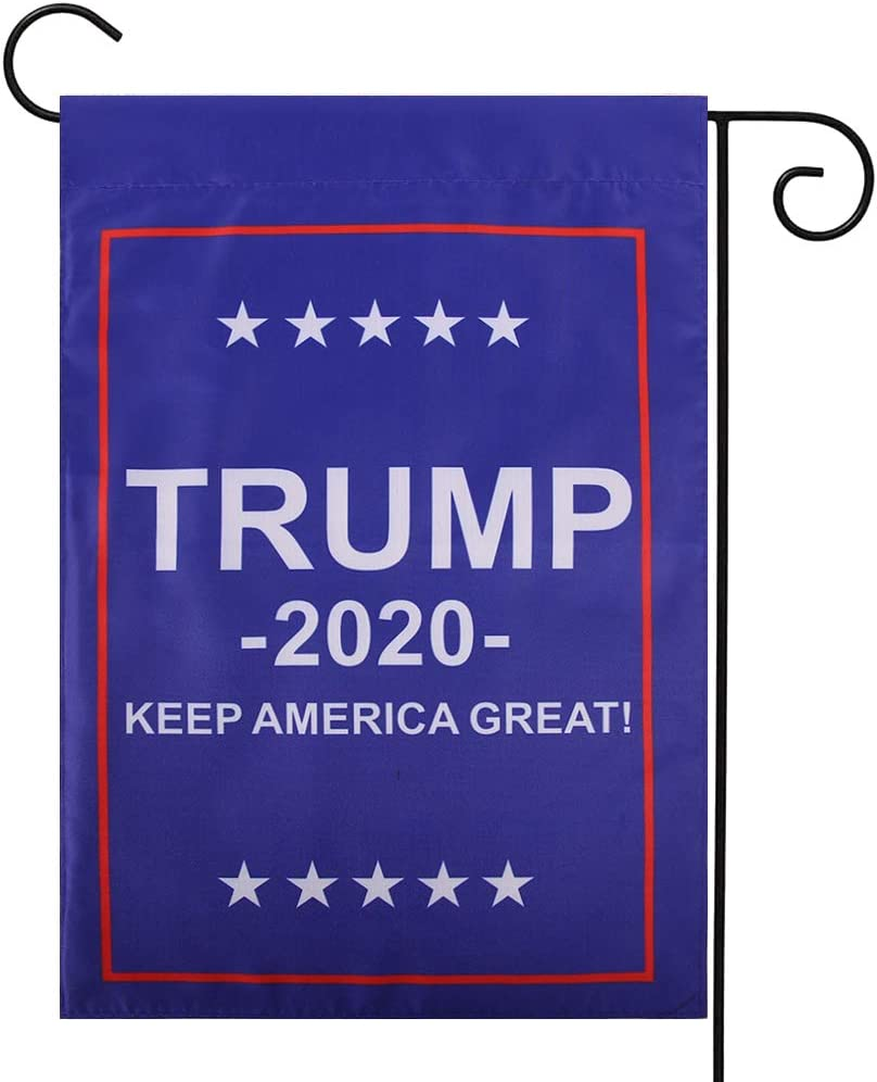 MAZORT Donald Trump 2020 Garden Flag, Double Sided Yard Flag Banner, Keep America Great Vertical Lawn Outdoor Decoration, American Election Patriotic Banner 11.8