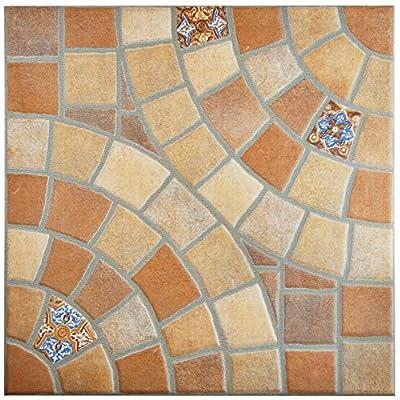 """SomerTile FEM13AKT Aranka Ceramic Floor and Wall Tile, 13.125"""" x 13.125"""", Brown/Beige/Blue/Orange/Red/White"""