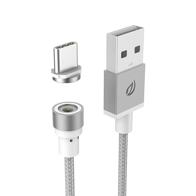 Cable de USB C cargador magnético, WSKEN redondo nailon trenzado ...