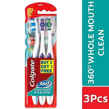 Colgate Cepillo de dientes – 360 grados de limpieza total de boca 3 piezas – Fabricado