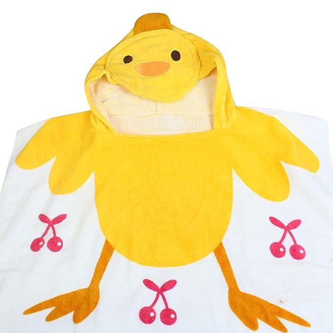 HAPPY CHERRY Niños Toalla de Baño de 100% Algodón Diseño Animal con Capucha Poncho / Toalla de Playa - 85x60cm - Pato: Amazon.es: Ropa y accesorios