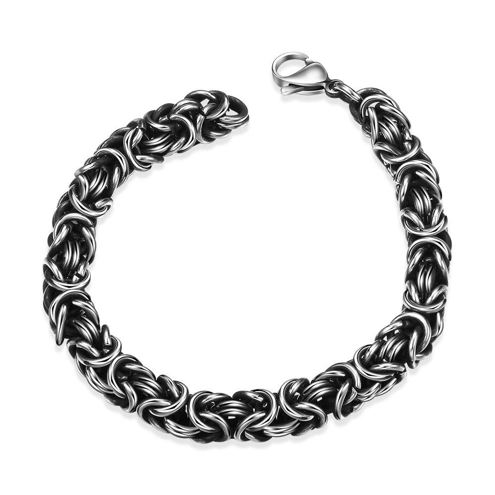 TPHui Bracelet punk en acier titane Mens Forme personnalité géométrie Bracelet homme