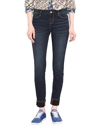 Denim_Second Skin, Skinny Jeans Femme, Bleu (Black Denim 5009), W27Desigual