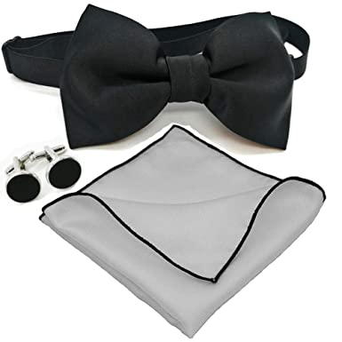 7a014679d6ef Amazon.com: Qobod Mens Party Bow Tie Handkerchief and Cufflinks Set solid  black white silk bow ties Pocket Squares for men pretied: Clothing
