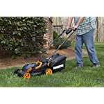 """WORX WG779 40V Power Share 4.0 Ah 14"""" Lawn Mower w/ Mulching & Intellicut (2x20V Batteries) 13 Dual 20V Power Share batteries deliver 40V of Maximum Power and Performance Patented intellicut technology delivers Power on demand save Your battery for when you Really need it Foam padded handles provides a comfortable grip for reduced fatigue while cutting"""