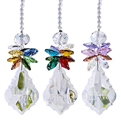 H&D Glass Crystal Rainbow Angel Ornament Chakra Hanging Suncatcher Window Sun Cactwith Baroque Maple Leaf Pendant for Gift, Pack of 3: Home & Kitchen