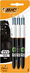 Star Wars BIC 4 Colours Ballpoint Pens Assorted Black Body Colours 3 Pack