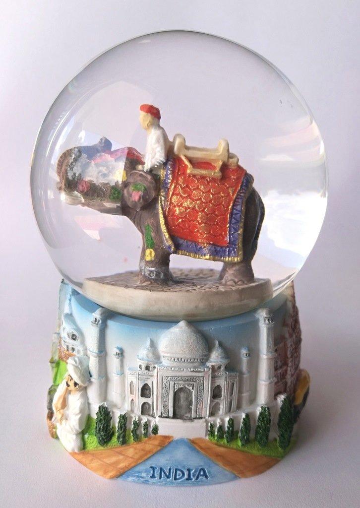 Handykraft Vintage Snow Globe Water Art Glass Paper Weight 3D Resin Great of INDIA Snowball Souvenir Gift Big size.