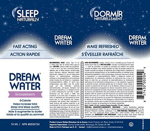 Dream Water Natural Sleep Aid, GABA, MELATONIN, 5-HTP, 2.5oz Shot, Snoozeberry, 12 Count