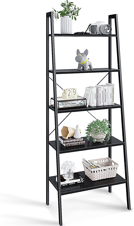 ODK Ladder Shelf, 5-Tier Bookshelf, 5 Shelf Ladder Shelf Book Storage Shelf Organizer for Living Room, Home Office, Black