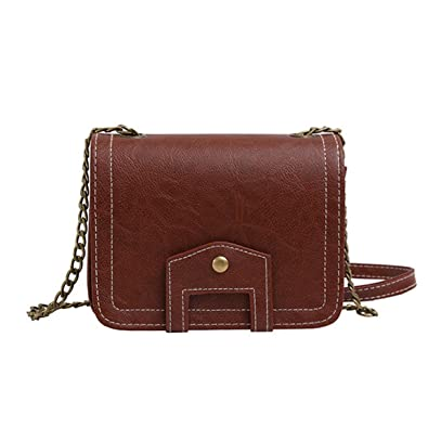 d0e711faba Fashion PU Leather Tote Women Crossbody Bag Metal Shoulder Strap Chain Mini  Hasp Rivet Shoulder Bag Small Square Bag - Dark Brown  Amazon.co.uk  Shoes    ...