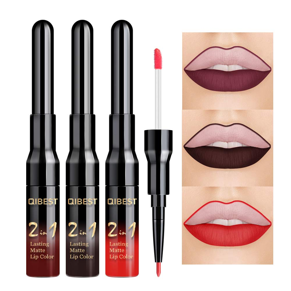 QIBEST 3 Pcs Matte Velvet Liquid Lipstick Lip Liner - 2 in 1 Double-End Nude Color Waterproof Long Lasting Durable Non-Stick Cup Makeup Set (Goth)