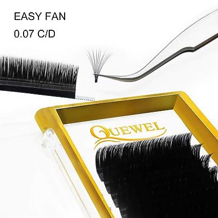 Volume Eyelash Extensions Thickness 0.07 D Curl 13mm Premade Fans 2 D 3 D 4 D 5 D 6 D 20 D Easy Fan Lash Self Fanning|Optinal C/D Curl Single 8 18mm Mix 8 15mm| by Quewel