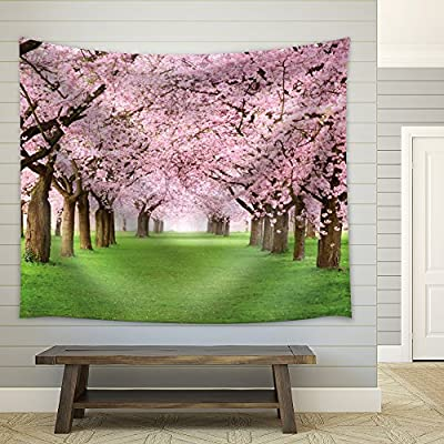 Rows of Cherry Blossom Trees in a Green Field, Quality Artwork, Alluring Work of Art
