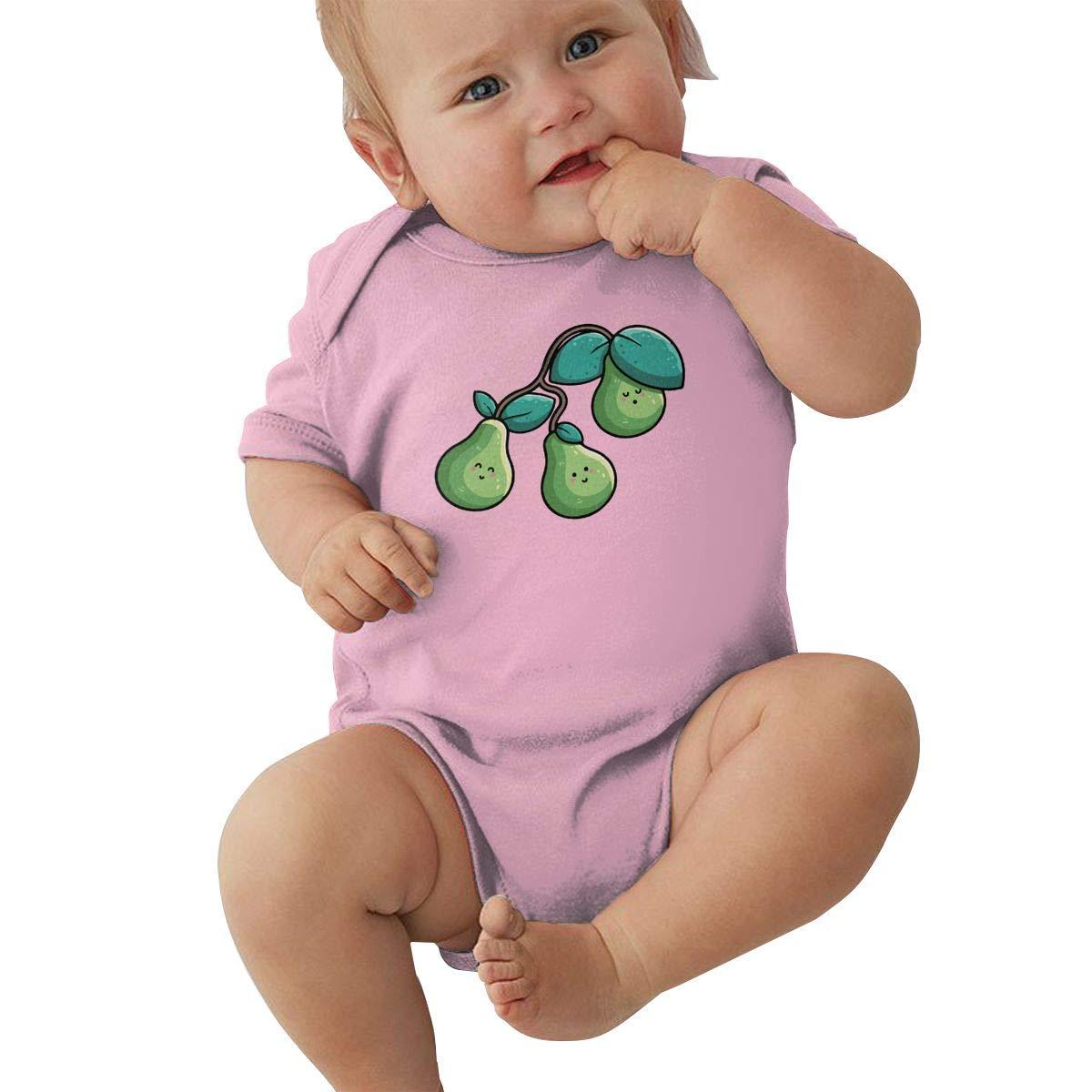 Mri-le2 Unisex Baby Short Sleeve Bodysuit Kawaii Cute Pears Kid Pajamas