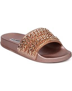 915cb30d8ade9e CAPE ROBBIN Moira-18 Women Metallic Chained Flat Sandal - Casual Lounge  Street Fashion Open