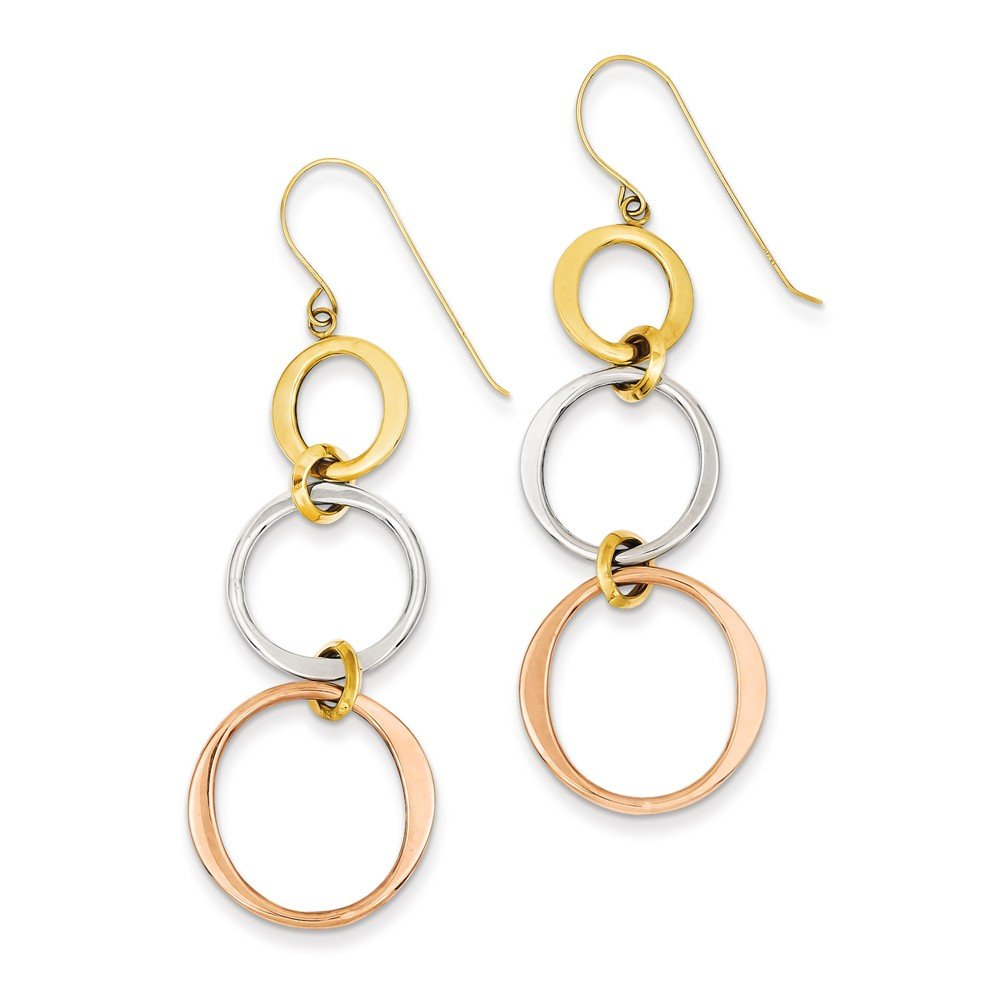 14k Three Tone Gold Triple Circle Dangle Wire Earrings (2.3IN x 0.7IN ) by Jewelry Pot
