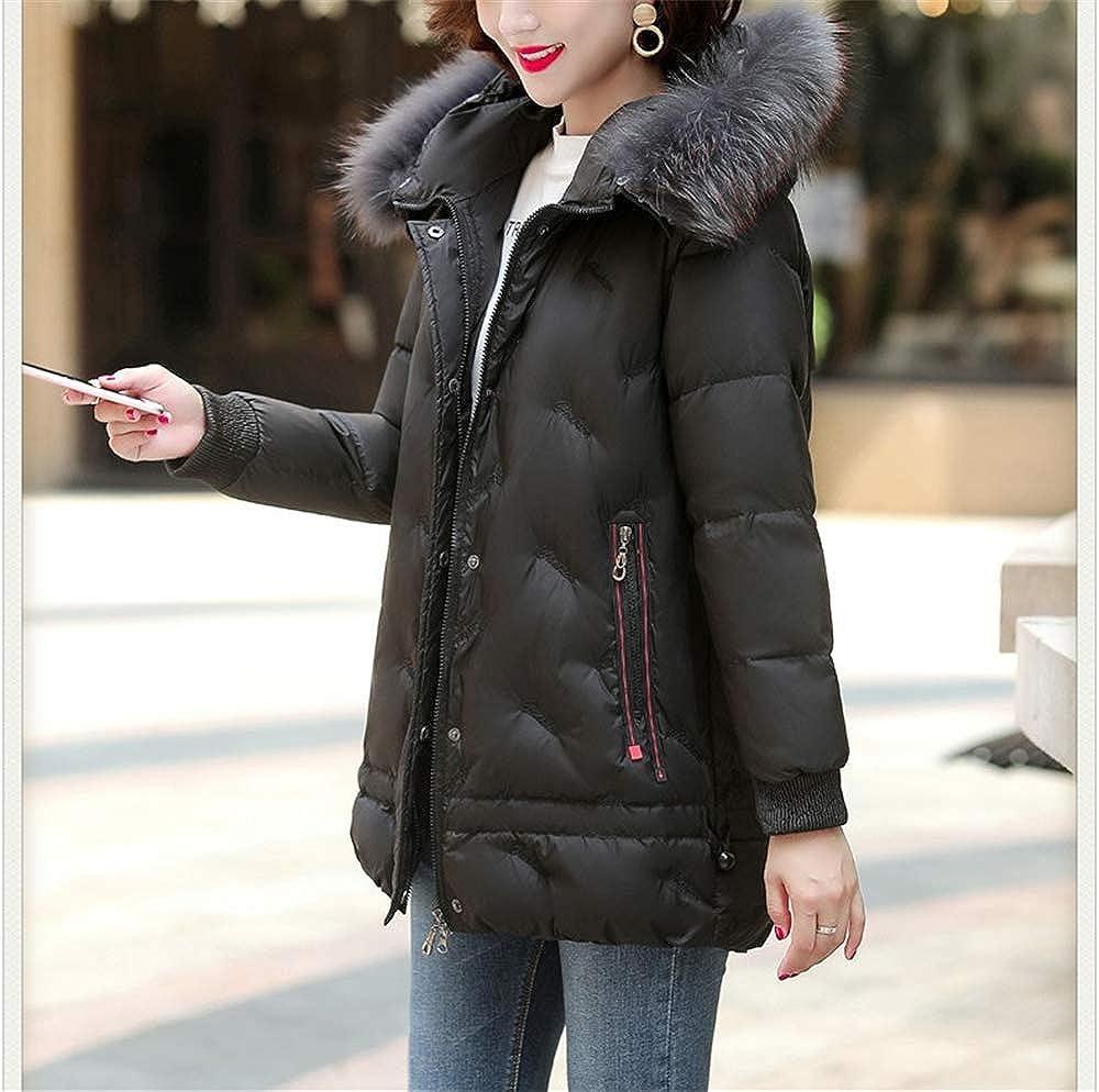 MLX-BUMU Piumino Donna Lungo Tratto Spesso Sciolto XL Cappotto Invernale Madre Black