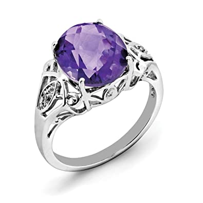 c5c113457ae7a Amazon.com: 4.22ct Oval Cut Amethyst and Diamond Accent Sterling ...