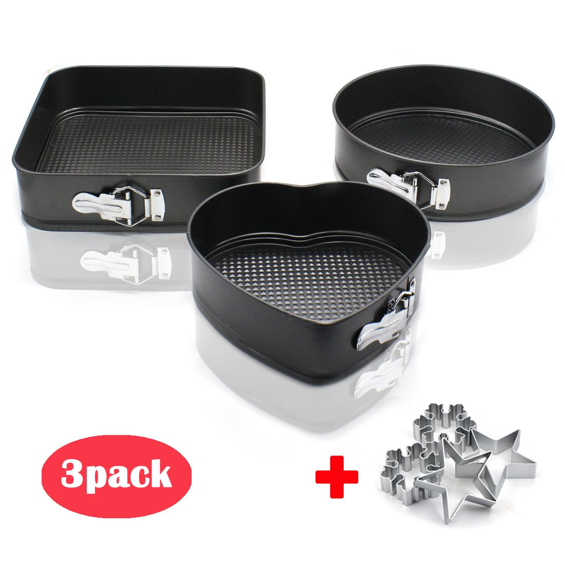 Nonstick Springform Cake Pan 3 pieces Nonstick Metal Cake Bakeware Set with 10 inch Square 9 inch Round 8 inch Heart Shaped & 4 Aluminum funny biscuits mold for Birthday Party Kitchen