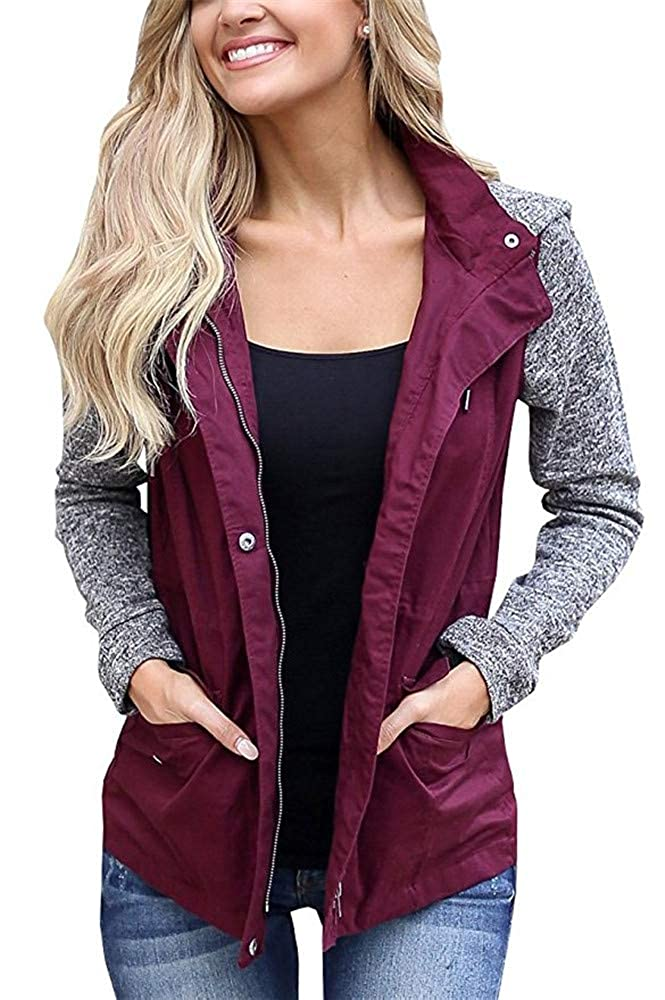 Blanycool Womens Military Anorak Safari Jacket Raglan Sleeve Hooded Coat with Pocket