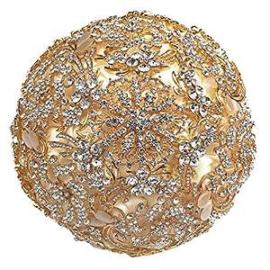 Engerla Luxury Champagne Gold Diamond Bouquet for Church,Wedding,Ceremony 111