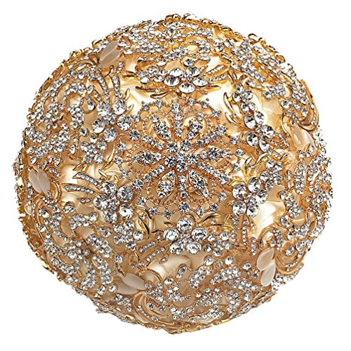 Gold Bouquet - Engerla Luxury Champagne Gold Diamond Bouquet for Church,Wedding,Ceremony