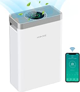 Hosome Smart Wifi Hepa Air Purifier for Home with H13 True HEPA Filter, Up to 700 sq.ft Large Room Air Purifier ,Quiet Air Cleaner for Smoke, Pet Hair, Dust, with Air Quality Monitor, Work with Alexa