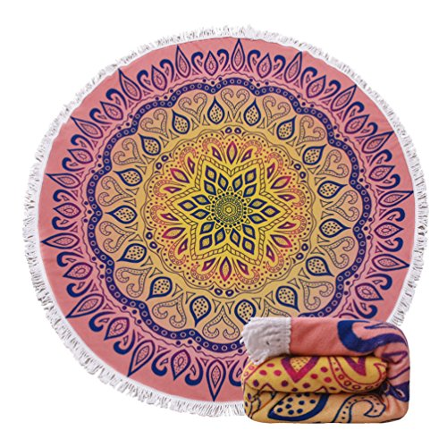 Round Beach Towel Blanket Tapestry - Purple Malanda Large Circle Thick Terry Throw Roundie Yoga Picnic Mat With Fringe Tassel For 2 Person Adult 11 Patterns - Thick Circle
