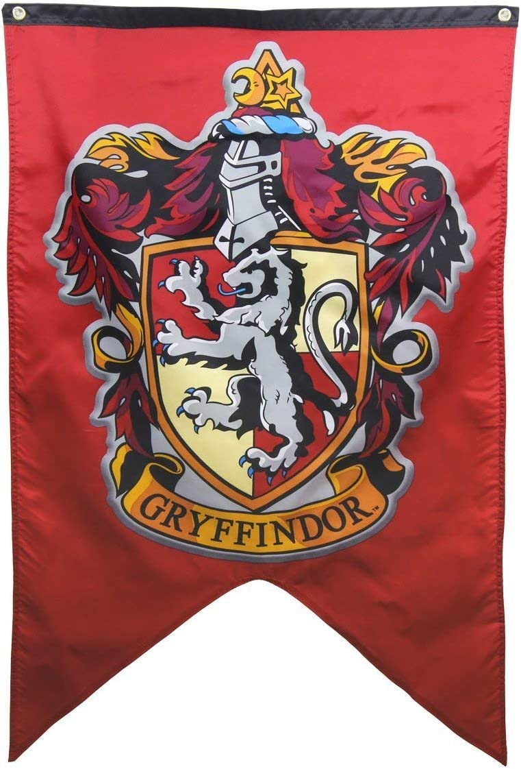 Hogwarts School of Witchcraft Banner for Harry Potter Wizardry Flag Poster Wall Decals Magical Wizard School Crest Party Decoration (Gryffindor)