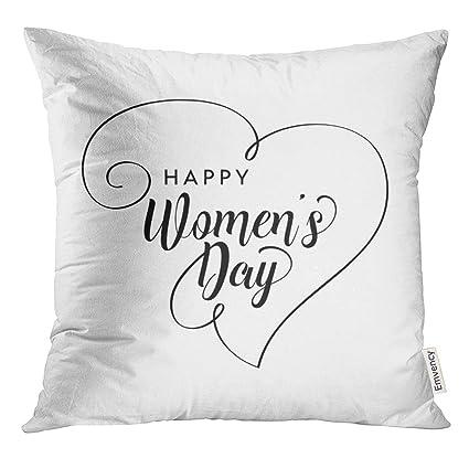 UPOOS Throw Pillow Cover Black Womens Happy Women s Day Typographic Design  White Women International Decorative Pillow cbb6698c54