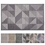 Indoor Doormat 24'x 36' Front Back Door Mat Rubber Backing Non Slip Door Mats Inside Floor Mud Dirt Trapper Mats Entrance Front Door Rug Shoes Mat Machine Washable (Grey:Magic Geome)