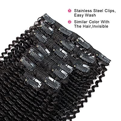 AmazingBeauty 8A 100 Remy 3C and 4A Kinkys Curly Clip in Human Hair Extensions, Double Weft Remy Human Hair for Black Women, 120 Gram, Jet Black 1#