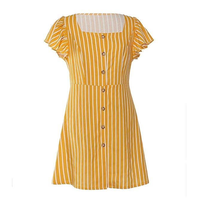 wave166 Vestido,Damen Sommerkleid Cuello Redondo Blumenkleid ...