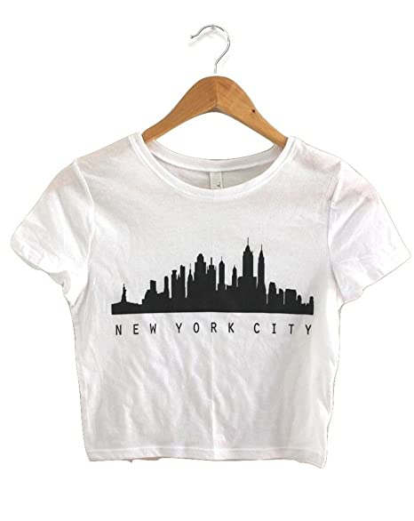 1f973a96ec8 New York City Skyline White Graphic Crop Top at Amazon Women's Clothing  store: