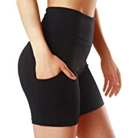 ChinFun Yoga Shorts for Women High Waist Tummy Control 4 Way Stretch Workout Running Shorts Side Pockets
