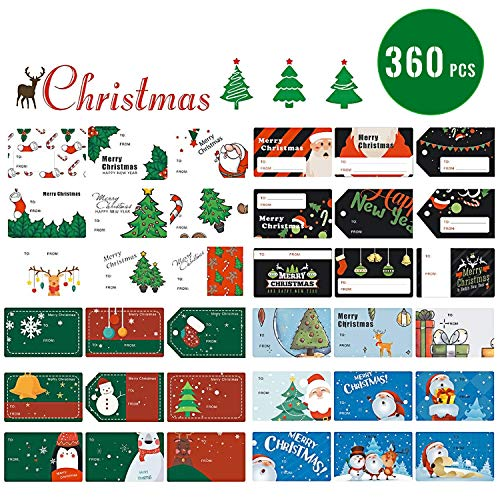 360 Pcs Christmas Gift Tags Stickers,Christmas Gift Name Tag Stickers for Kids,Self Adhesive Stickers for Envelope,Wrapping Paper and Gift Bags