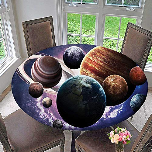 Mikihome Chateau Easy-Care Cloth Tablecloth Solar System Planets All Together in Mercury Jupiter Globe Saturn Universe for Home, Party, Wedding 35.5