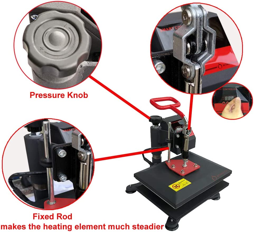 Red and White Vinyl Heat Press Portable 9 X 9 Heat Press Machine T-Shirt Printing Machine Multifunction Transfer Iron-on Machine Professional Digital Heat Press with Teflon Sheet Silicone Mat