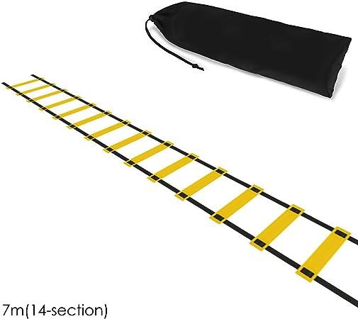 Josopa Escalera de Entrenamiento de Velocidad de Agilidad Plegable de 5 m / 7 m / 10 m con Bolsa de Almacenamiento Fútbol Deportes Herramienta de Fitness (Size : 7Meters(14-Rung)): Amazon.es: Hogar