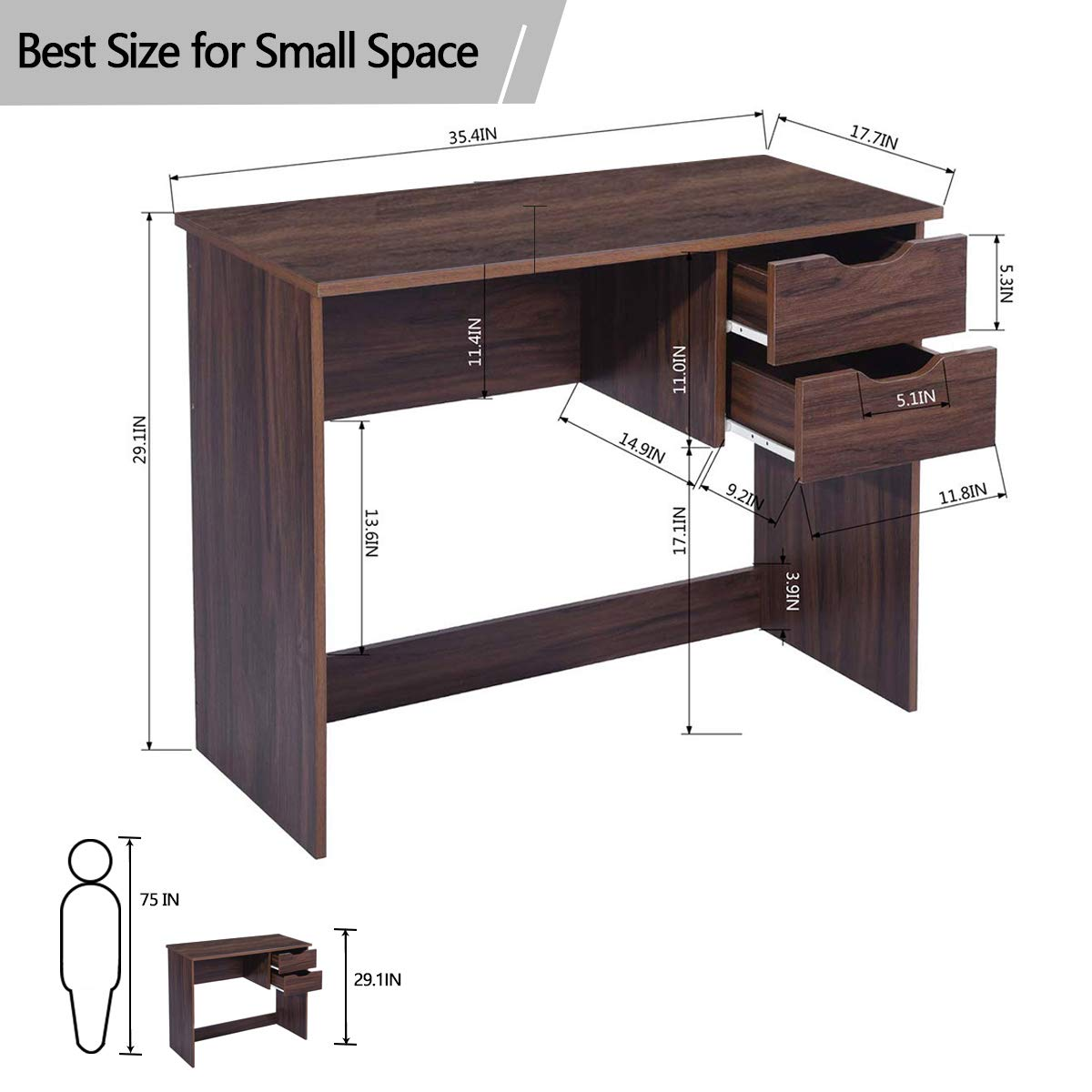 Writing Computer Desk Study Table With 2 Side Drawers Classic Home Office Laptop Desk Walnut Brown Wood Notebook Table 35 4x17 7x29 1 Inches