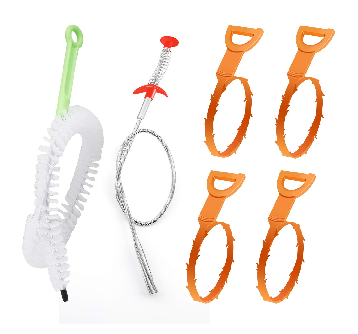 6 Pack Drain Snake Clog Remover, Drain Auger Hair Catcher Sink Drain for Bathroom Tub, Kitchen Sink, Sewer, Toilet, Pipe