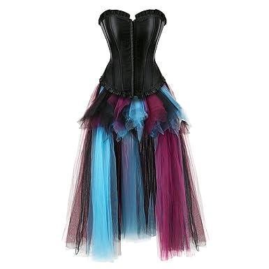 aizen Mujer Burlesque corsés y Bustiers con largas Faldas tutú ...