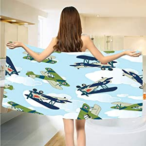 Gene Washington Airplane Absorbent Quick Dry Towel Vintage Allied Plane Flying Pattern Cartoon Children Kids Repeating Toys Shark Teeth Absorbent Quick Dry Towel W19 x L39 Inch