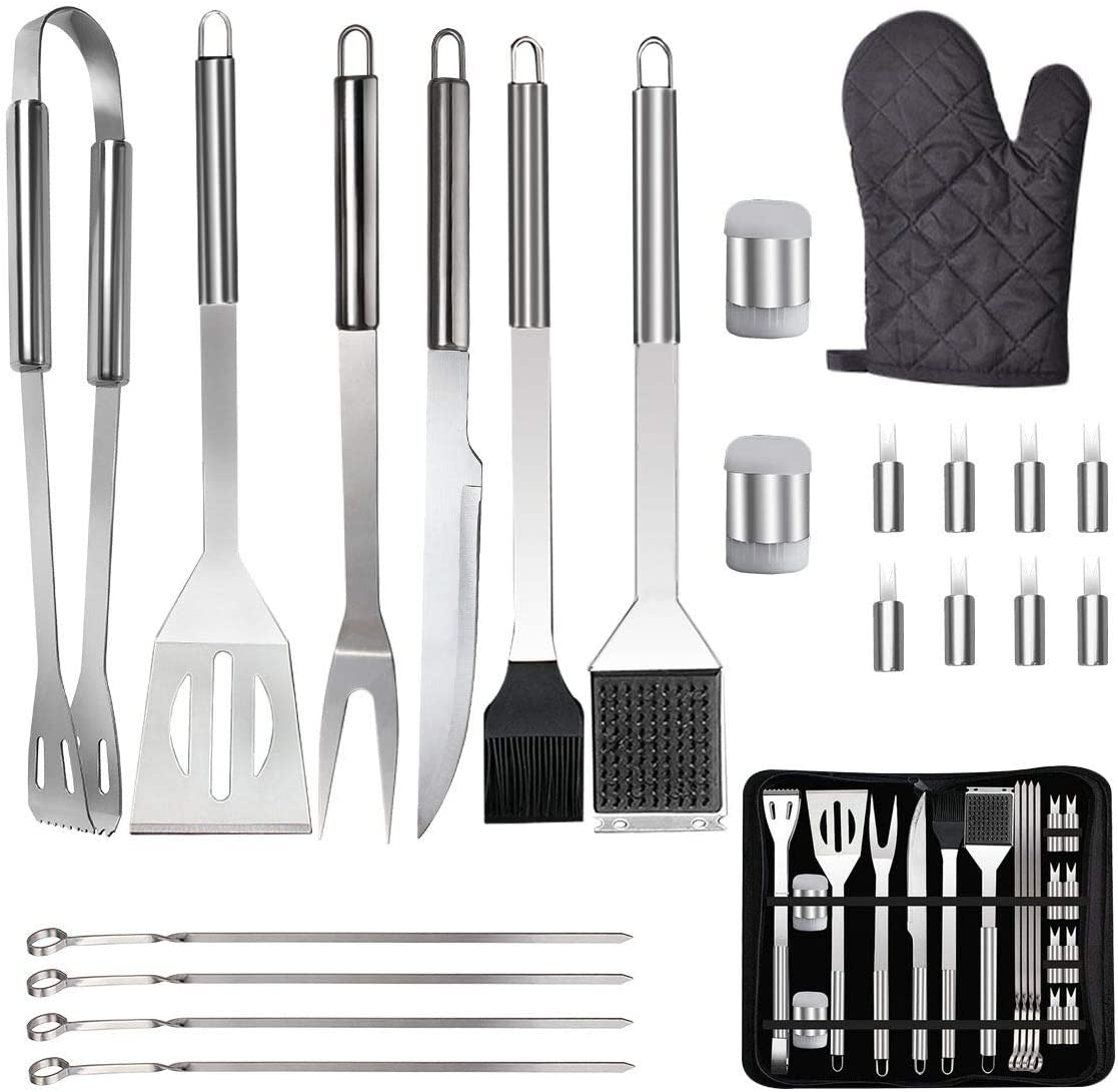 Dececos BBQ Grill Tool Set 22pc with Case - Heavy Duty Extra Thick Stainless Steel Spatula, Fork, Tongs, Cleaning Brush & Gloves Set, Professional Barbecue Accessories for Outdoor Grilling