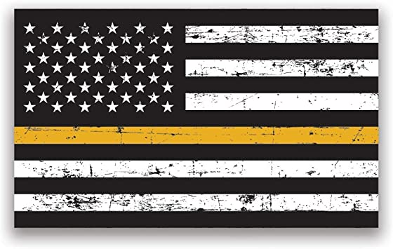 Thin GOLD Line Flag Sticker GRUNGE Dispatch USA Vinyl Decal Police Lives Matter