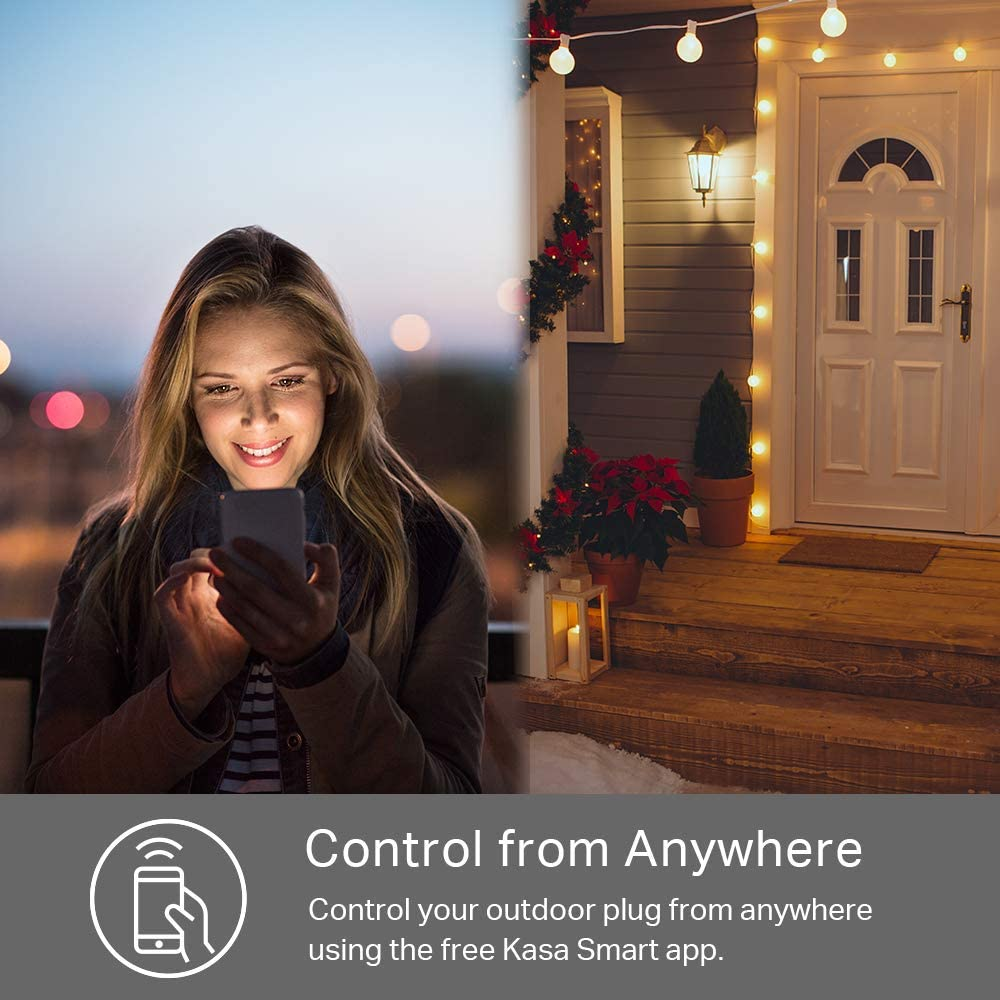 Kasa Smart Outdoor Plug with 2 Outlets IP64 Waterproof and Scheduling KP400 Individual Control Works with Alexa /& Google Home Sunrise /& Sunset