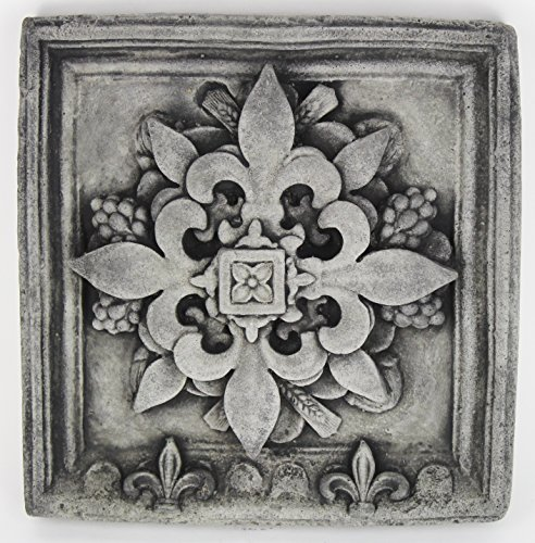 French Concrete Wall Plaque Cement Fleur de Lis European Garden Statue Hanging Plaque Art Cast Stone Fleur de LYS French Statuary