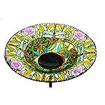 "Evergreen Dragonfly Glass Bird Bath Bowl with Metal Stake - 10""L x 10"" W x 26.75"" H"