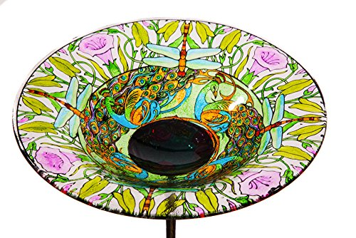 "Evergreen Dragonfly Glass Bird Bath Bowl with Metal Stake - 10""L x 10"